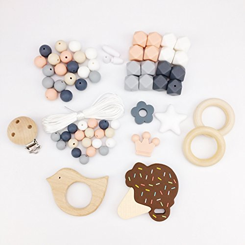 Preisvergleich Produktbild Mamimami Home DIY Baby Teether Spielzeug Krankenpflege Halskette Silikon Armband Sechskant Perlen Beissring Hölzern Schnuller-Clips