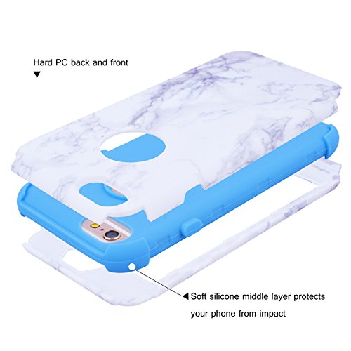"WE LOVE CASE iPhone 6 Plus / 6s Plus Hülle Marmor 360-Grad All-inclusive Split Full Protection Anti-Drop iPhone 6 Plus / 6s Plus 5,5"" Hülle Blau Schutzhülle Handyhülle Handytasche Handycover PC Harte  blue"
