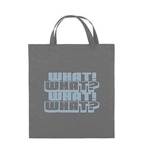 Comedy Bags - WHAT! WHAT! WHAT! WHAT! - Jutebeutel - kurze Henkel - 38x42cm - Farbe: Schwarz / Silber Dunkelgrau / Eisblau
