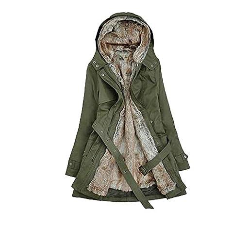 Woman Winter Thick Wool Plush Hooded Coat Long Windbreaker Belt Warm Jacket