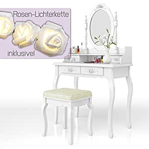 schminktisch lady rose in wei mit hocker und lichterkette kosmetiktisch spiegel. Black Bedroom Furniture Sets. Home Design Ideas