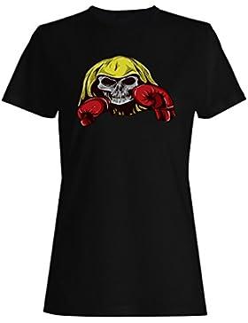 Cráneo diablo caja lucha novedad vintage arte camiseta de las mujeres n33f