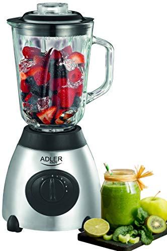 Standmixer 800 Watt Glas Edelstahl | 1,5 Liter | 6-Fach Metallmesser | Universal Power Mixer | Smoothie Maker | Mixer | Zerkleinerer | Eiweiß Shaker | Ice Crusher