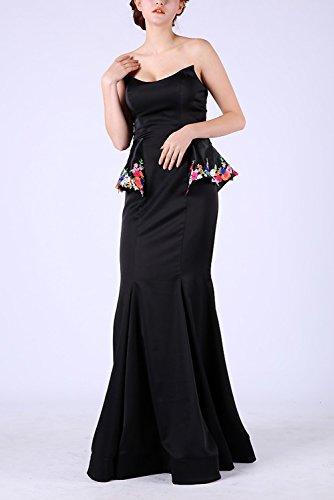 BRLMALL Damen trägerlose Nixe-Satin-formales Kleid mit Schößchen Blumenmuster Schwarz