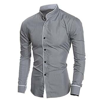 Beauty Top Beautytop Camicia da Uomo Maglietta Camicie Slim Fit elegante Manica Lunga T-shirt Top (Grigio, M)