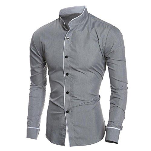 Beauty top beautytop camicia da uomo maglietta camicie slim fit elegante manica lunga t-shirt top (grigio, 2xl)