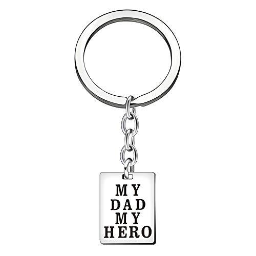 Idea regalo per la festa del papà argento artigianale inciso my dad my hero famiglia ciondolo anello portachiavi per papà, uomo