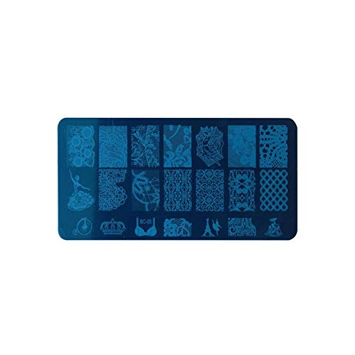 Blue Vesse Women es Fashion Nagel druckschablone DIY Flower Silikon Jelly Stamper Nail Polish Rectangular Module Board Stamp Plates (E) Blue Steel Wash