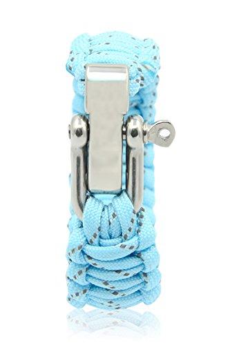 Imagen de vococal paracord 308 lb fluorescente ajustable / pulsera grillete de supervivencia de paracaídas cuerda / venda de muñeca teje con hebilla de acero inoxidable,azul de cielo