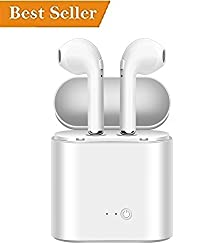 Apple iPhone 7 Compatible Wireless Airpods earpod Mini Twin Portable Bluetooth Headset, with Active Noise Cancellation Technology and Charging Box (White) by BIRVRED