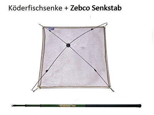 Köderfischsenke 100cm + 3m Zebco Senkstab, Set zum Senken, Köderfische fangen, Fische senken, Angelset zum Köfis fangen