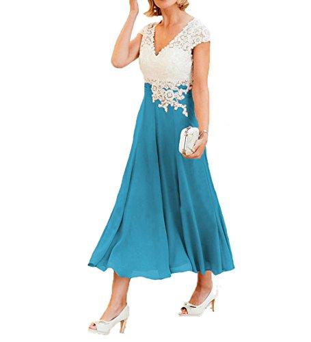 O.D.W Damen Spitze Formales Mutter des Brautkleides Brautmode Party Ballkleider(Weisse+Blau, 40)