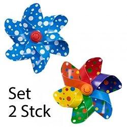 CIM Fahrrad-Windmühle - Moulin VELO 12cm - Blue Dots / Rainbow Dots [ 2er Set ] Windrad Ø12cm - Windspiel für alle Fahrräder, Roller, Dreiräder, Laufräder, Kinderwagen und Buggys