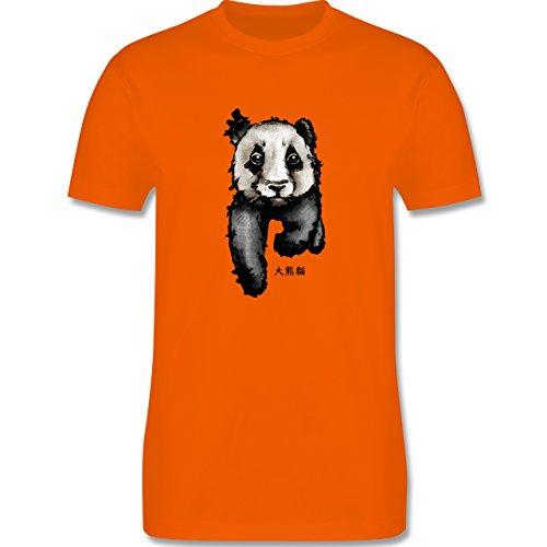 """Wildnis - Panda mit chinesischen Schriftzeichen für Panda übersetzt """"große Bär-Katze"""" - Herren Premium T-Shirt Orange"""