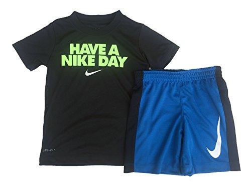 Nike Kleinkind Jungen Dri Fit Kurzarm T-Shirt und Kurze 2 Stück Set (Obsidian(86D622-695)/Volt, 18 Monate)
