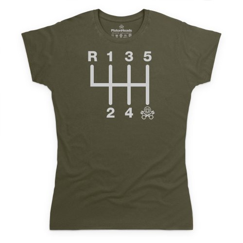 PistonHeads Gearstick T-Shirt, Damen Olivgrn