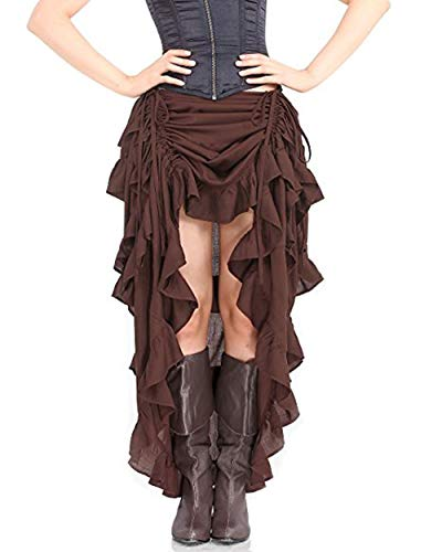 Damen Vintage Steam Punk Rock Gothic Chiffon Spitze Cocktail Party Kostüm Slip Schwarz Mesh Hohe Taille Frauen Lange Rock (S = EU 33-34, ()