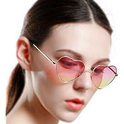 AiSi Damen Retro UV400 herzförmige Sonnenbrille Anti-UV Brille Gr. One Size Pink