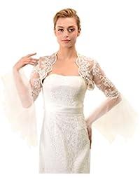Topwedding Hochzeit Bolero Jacke Wraps Brautkleider Perlen Elfenbein-Spitze-Hochzeits-Bolero