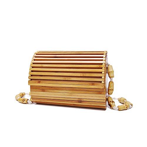 DLDL Bambus Handtasche handgefertigt für Sommer Sea Hollow Crossbody Top Griff für Frauen 7,9