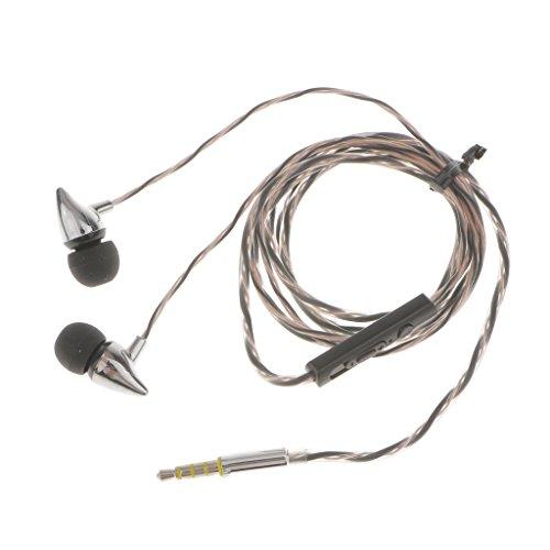 MagiDeal Universal In-Ohr-Kopfhörer verdrahtet Stereo-Effekt Ohrhörer mit Mikrofon Lautstärkeregler - Schwarz