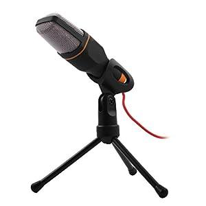 Sourcingmap® Schwarz PC Mini 3.5mm Studio Multimedia Stand Mikrofon Microphone für Skype MSN de