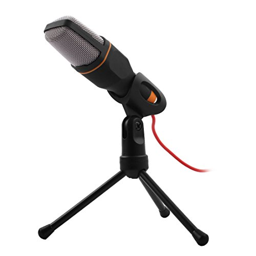 sourcingmap® Schwarz PC Mini 3.5mm Studio Multimedia Stand Mikrofon Microphone für Skype MSN