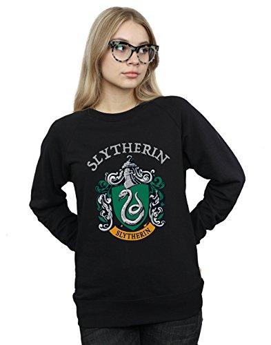 Harry Potter Damen Slytherin Crest Sweatshirt Schwarz Large Crest Pullover Sweatshirts