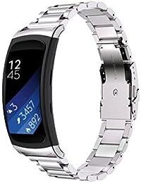 Reloj banda 18mm, happytop acero inoxidable pulsera correa de muñeca relojes de repuesto para Samsung Gear Fit 2sm-r360, hombre, plata, S