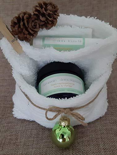 Nachhaltiges Geschenkset - Pflegecreme Kokos & Mandel und Lippenpflege im Waschlappen