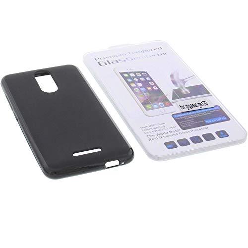 foto-kontor Tasche für Gigaset GS160 / GS170 Gummi TPU Schutz Handytasche schwarz + Schutzglas