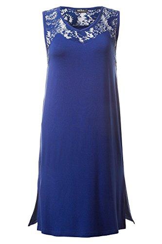 Ulla Popken Femme Grandes tailles Chemise de nuit sexy dentelle col V sans manches 704489 bleu foncé