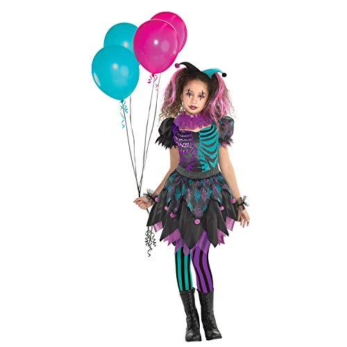Kostüm Alter 10 Bis - amscan Haunted Harlequin Halloween Kostüm enthält Kleid Manschetten Kragen Stirnband und Strumpfhose Alter von 10 bis 12 Jahren