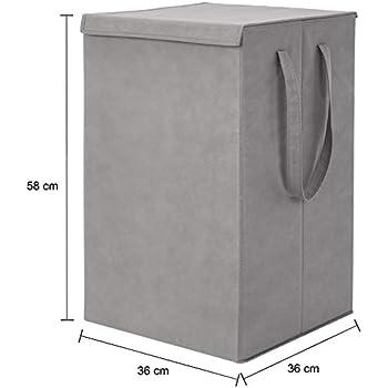 Amazon Brand - Solimo Fabric Foldable Laundry Organiser, Grey
