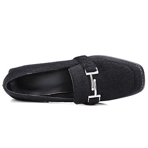 COOLCEPT Damen Mode-Event Buckle Belt Chunky Blockabsatz Pumps Brogues Flocking Shoes (36 EU, Gray)