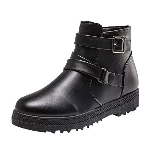 Boots Femmes Plates,GongzhuMM ModeFéMinine SolideHiver Chaud Bottes Courtes de Neige Plates Chaussures à Fermeture