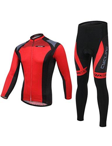 iCreat Herbest Rad-Trikots Herren / Damen Hemd mit lange Ärmeln Anzug Radbekleidung mit Fahrradhose COOLMAX Silikonmatte
