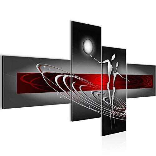 Bilder Abstrakt Figuren Wandbild 160 x 80 cm Vlies - Leinwand Bild XXL Format Wandbilder Wohnzimmer Wohnung Deko Kunstdrucke Rot 4 Teilig - MADE IN GERMANY - Fertig zum Aufhängen 301245a