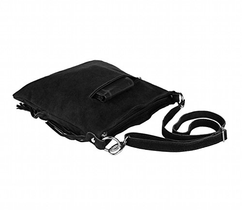 OBC Made in Italy Donna Borsa a tracolla in pelle scamosciata frange borsa a tracolla 32x 30x 5cm (BxHxT) marrone cognac 32x30x5 cm (BxHxT) nero