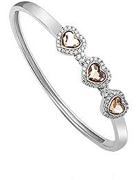 Europeo Romántico Brillante En Forma De Corazón Plata Esterlina Cristal Circón Mujeres Brazalete Niñas
