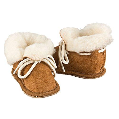 Heller Vertrieb 100% Merino Lammfell Baby/Kinder Stiefel - Braun Größe 20-21 (13-18 Monate - 11,5-13cm)