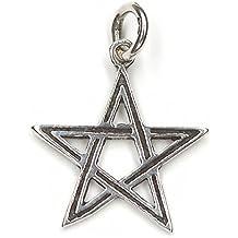 Colgante de estrella de pentagrama de brujas de estrella de plata de ley 925, longitud con ojete: 2,5 cm