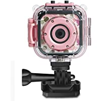 "DRGORACE Kids Camera Waterproof Action Camera 1080P HD Video Camcorder with 1.77"" LCD and Travel Bag for Boys Girls Birthday"