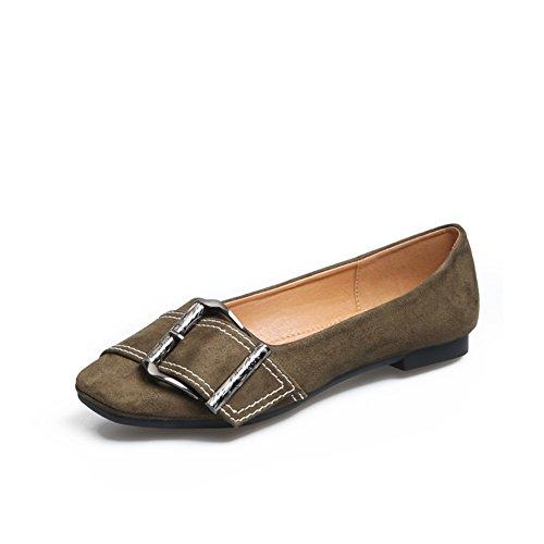 Lady,Daim,Square Head,Talon Plat,Chaussures Nue/Rétro,Asakuchi,Chaussures Nue B