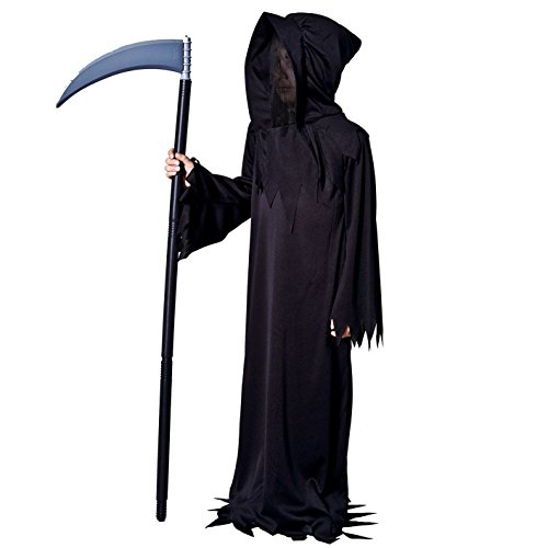 Sea Hare Bambini Grim Reaper nero Vestito da demone Costume di Halloween (L:10-12 anni)