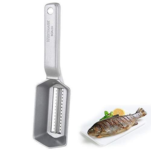 Westmark Fischentschupper mit Schuppenauffangschale, Aluminium/Rostfreier Edelstahl, 21 x 5,9 x 5,3 cm, Scalex, Silber, 65002260