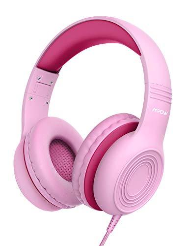 Mpow CH6 Auriculares para niños, Volumen Limitado en el oído Auriculares para niños con Conector de Audio de 3.9 mm para niños, niñas y niños, Auriculares con Cable Ajustable y Plegable con micrófono