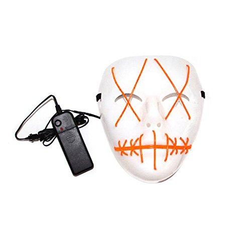 en Ghost Slit Mund leuchten Lumineszenz-Maske für Party Prop enthält keine Batterien LED Urlaub Nachtlicht (Farbe : Orange) ()