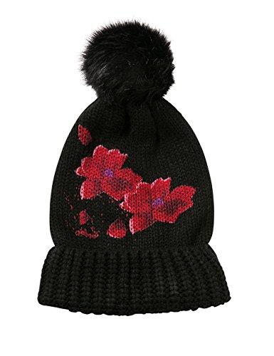 Desigual Damen Strickmütze HAT_RED Flowers, Schwarz (Negro 2000), One Size (Herstellergröße: U)