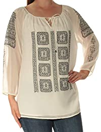 cc36366a8d40c Calvin Klein Womens White Embroidered Long Sleeve Keyhole Top Size  M